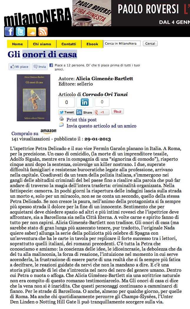 Milano Nera Gli Onori di casa