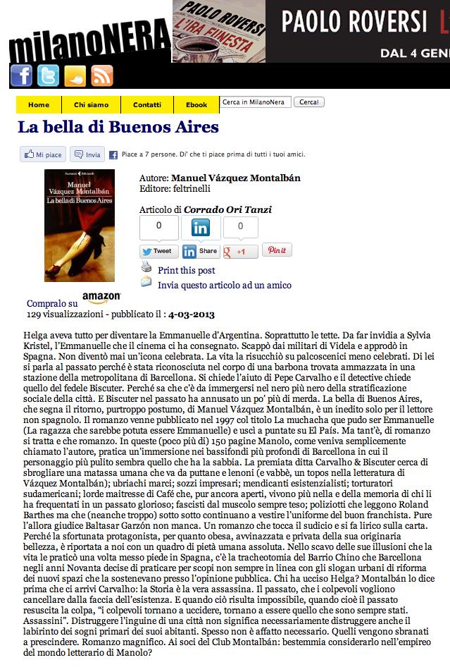 Milano Nera La bella de Buenos Aires