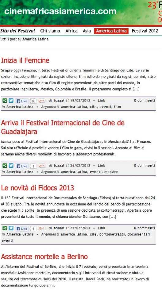 Blog del Festival Africano, D'asia e America latina