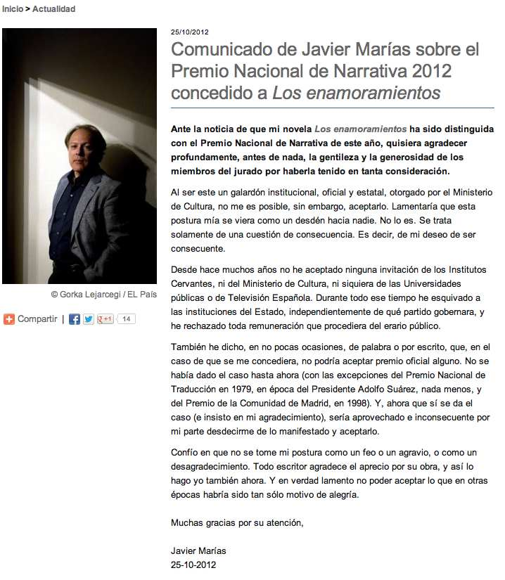 Alfaguara Javier Marías rechaza premio 2