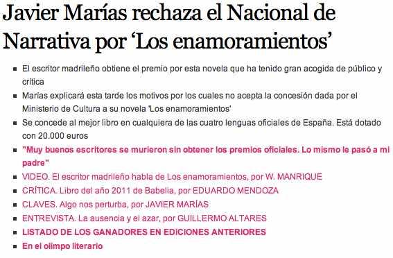 El País cultura Javier Marías rechaza premio 1