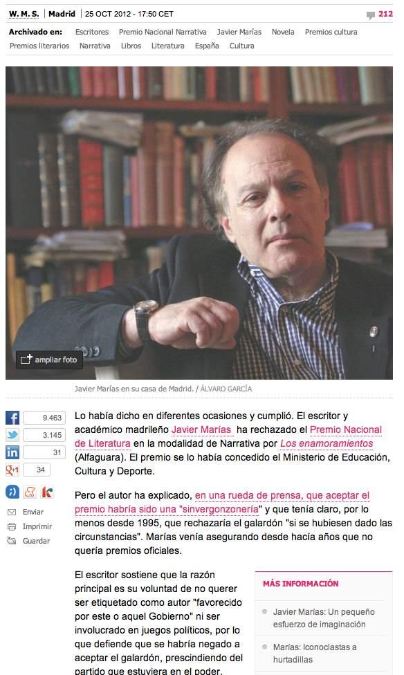 El País cultura Javier Marías rechaza premio 2