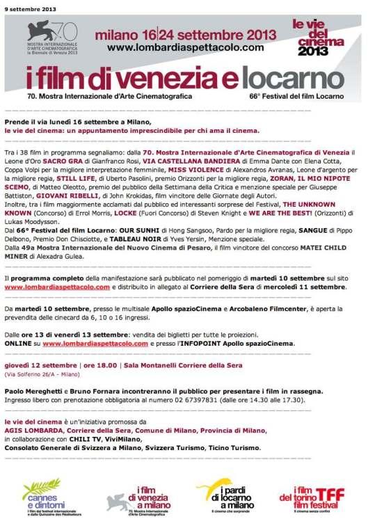 Le Vie del Cinema 2013 sept