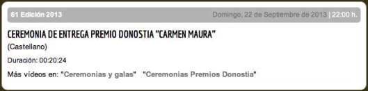 Ceremonia entrega premio Donostia a Carmen Maura