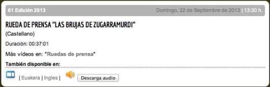 Rueda de prensa ''LAS BRUJAS DE ZUGARRAMURDI''
