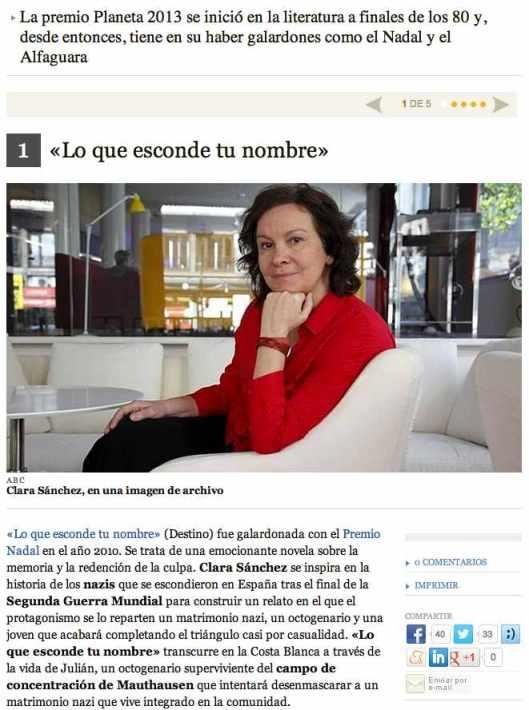Cinco libros imprescendibles de Clara Sanchez