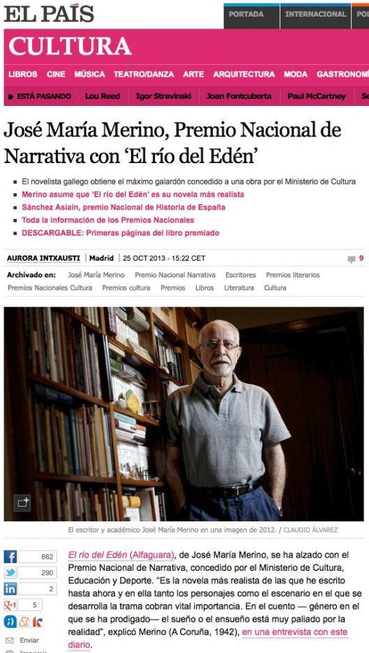 José María Merino, Premio Nacional de Narrativa con 'El río del Edén'