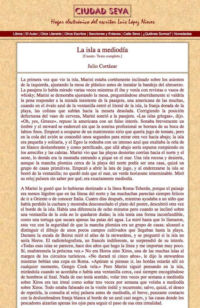 La isla a mediodía de Julio Cortázar
