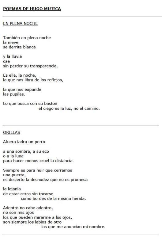 Poemas de Hugo Mujica