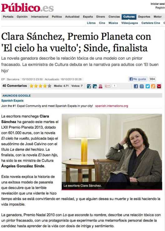 Premio Planeta 2013 Clara Sanchez Publico