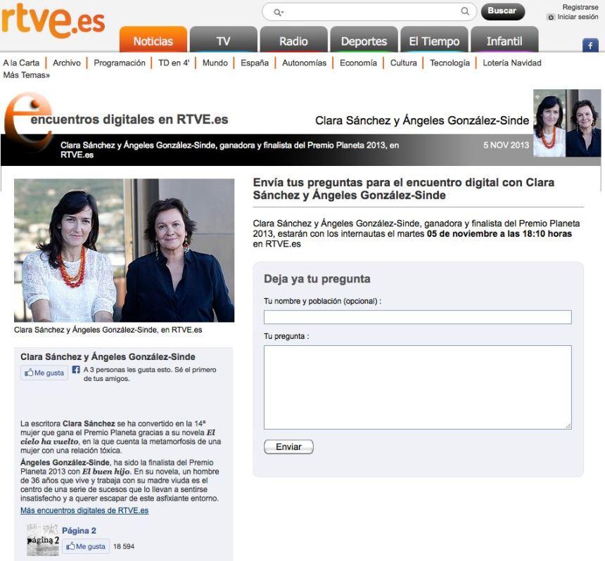 Encuentro digital con Clara Sanchez