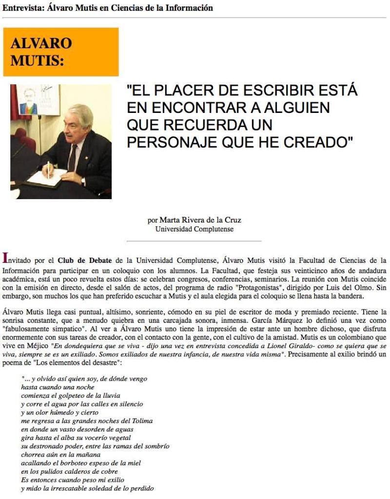 Entrevista- Álvaro Mutis en Ciencias de la Información