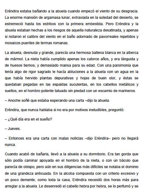 increible y triste historia de la candida Erendira y su abuela desalmada, La - Gabriel Garcia Marquez Extracto