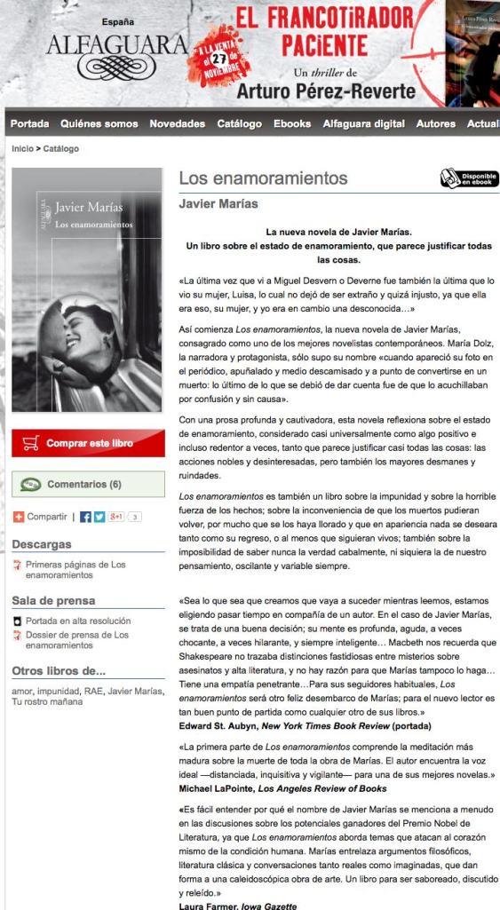 Los enamoramientos de Javier Marías Alfaguara