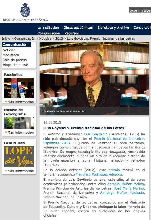 Luis Goytisolo, Premio Nacional de las Letras