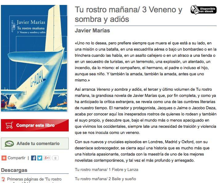 Veneno y Sombra Javier Marías