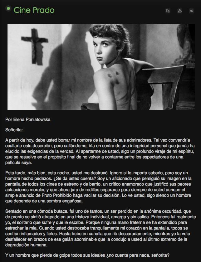Cine Prado de Elena Poniatowska cuento