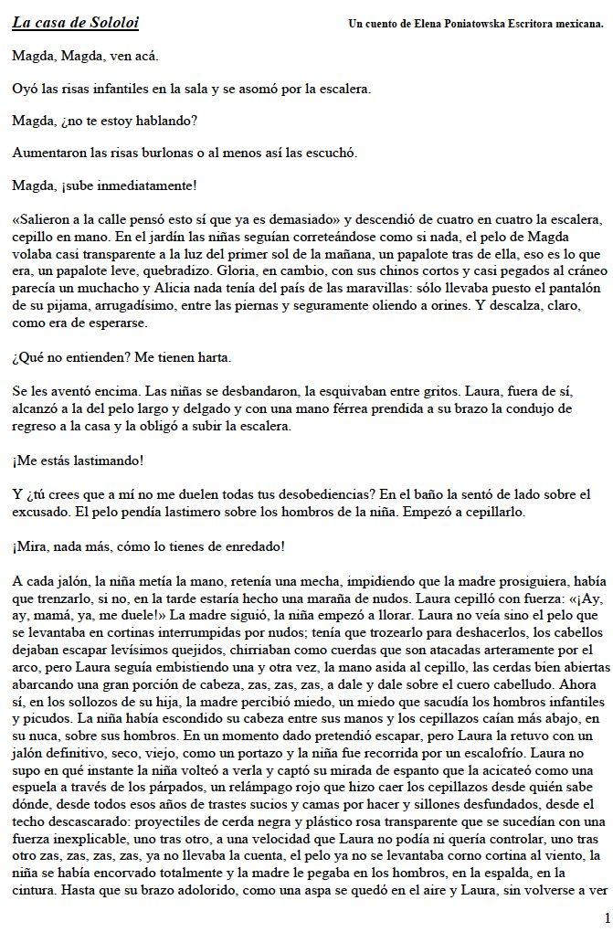 La casa de sololoi  de Elena Poniatowska Escritora mexicana