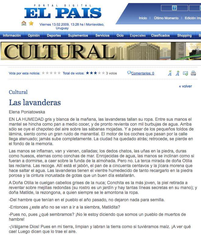 Las Lavanderas de Elena Poniatowska cuento