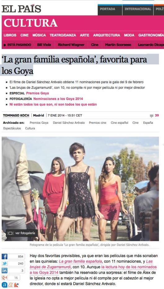 'La gran familia española', favorita para los Goya
