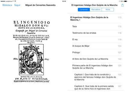 iPad - leyendo el Quijote