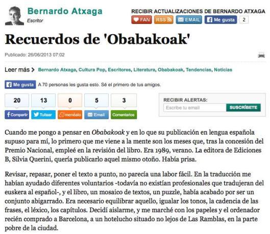 Telefonica Cultura Recuerdos de Obabakoak