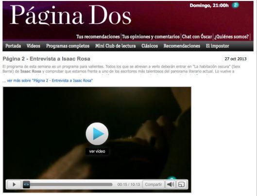 Isaac Rosa en Pagina dos