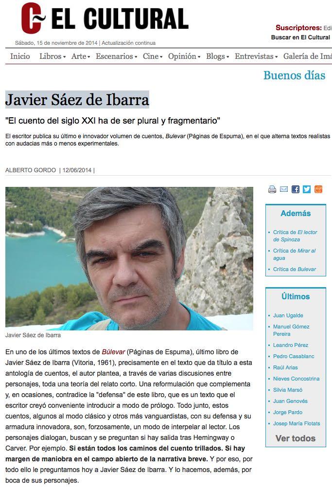 Javier Sáez de Ibarra entrevista cultural