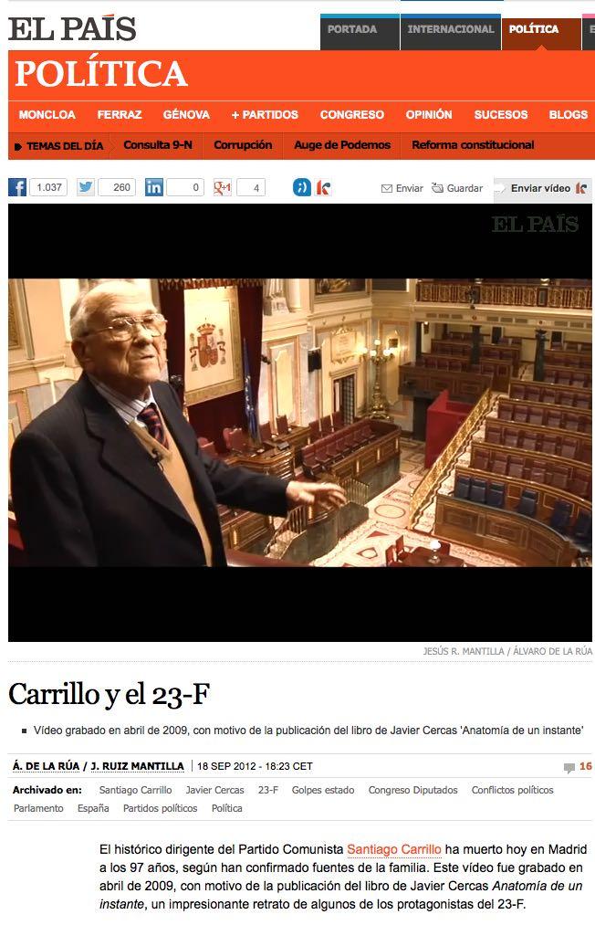 Testimoniancia de Santiago Carillo sobre el 23 F