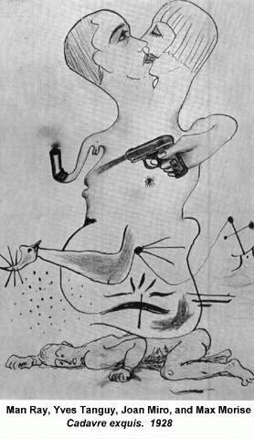 Ejemplo de dibujo realizado bajo los reglas del cadáver exquisito.