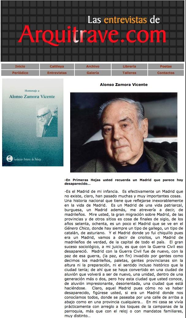 Alonso Zamora Vicente Arquitrave