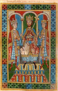 Frederic I Barbarossa and his sons King Henry VI and Duke Frederick VI. Medieval illustration from the Chronic of the Guelphs (Weingarten Abbey, 1179-1191).